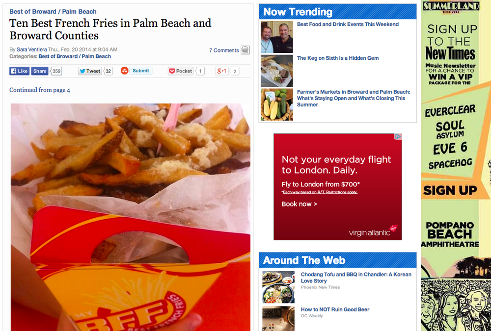 Best French Fries was named in the top 10 for best fries in South Florida.