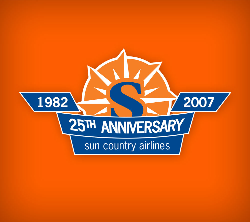 I designed the 25th Anniversary Logo for Sun Country Airlines