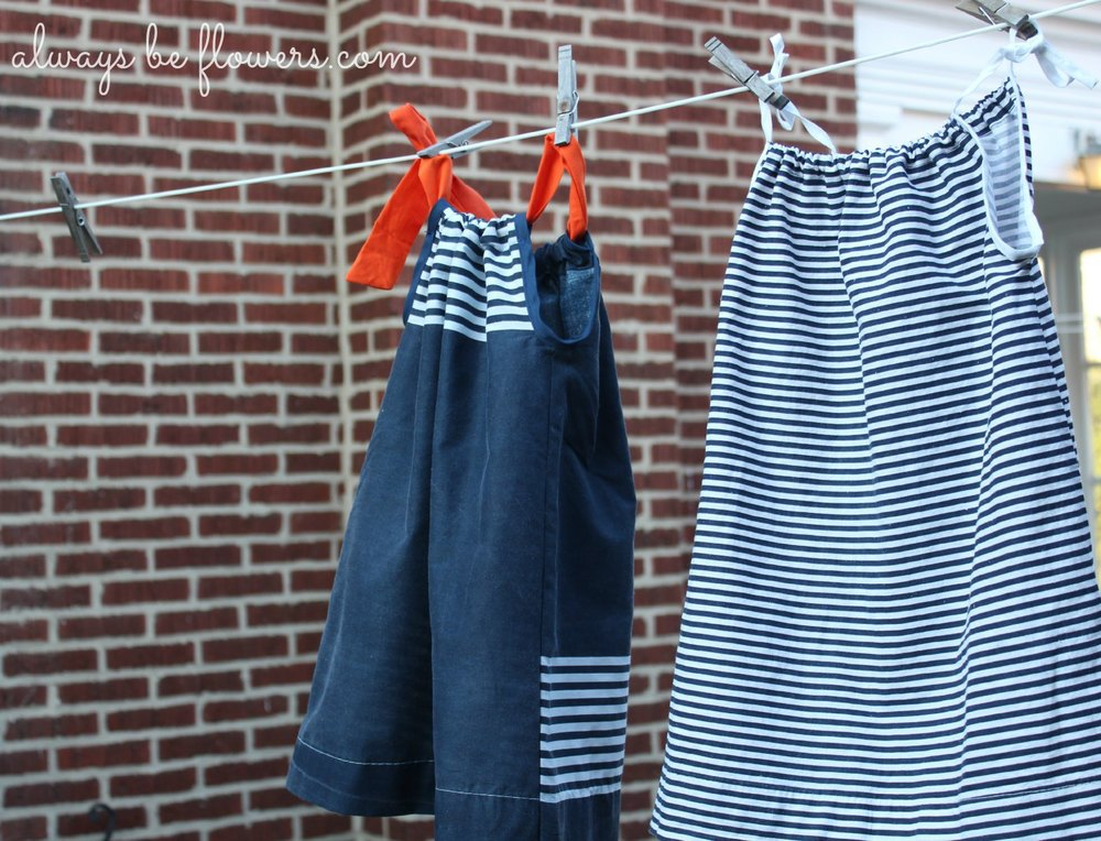 The back of the pillowcase dresses.  The navy pillowcase had stripes in two spots, which created a fun back.