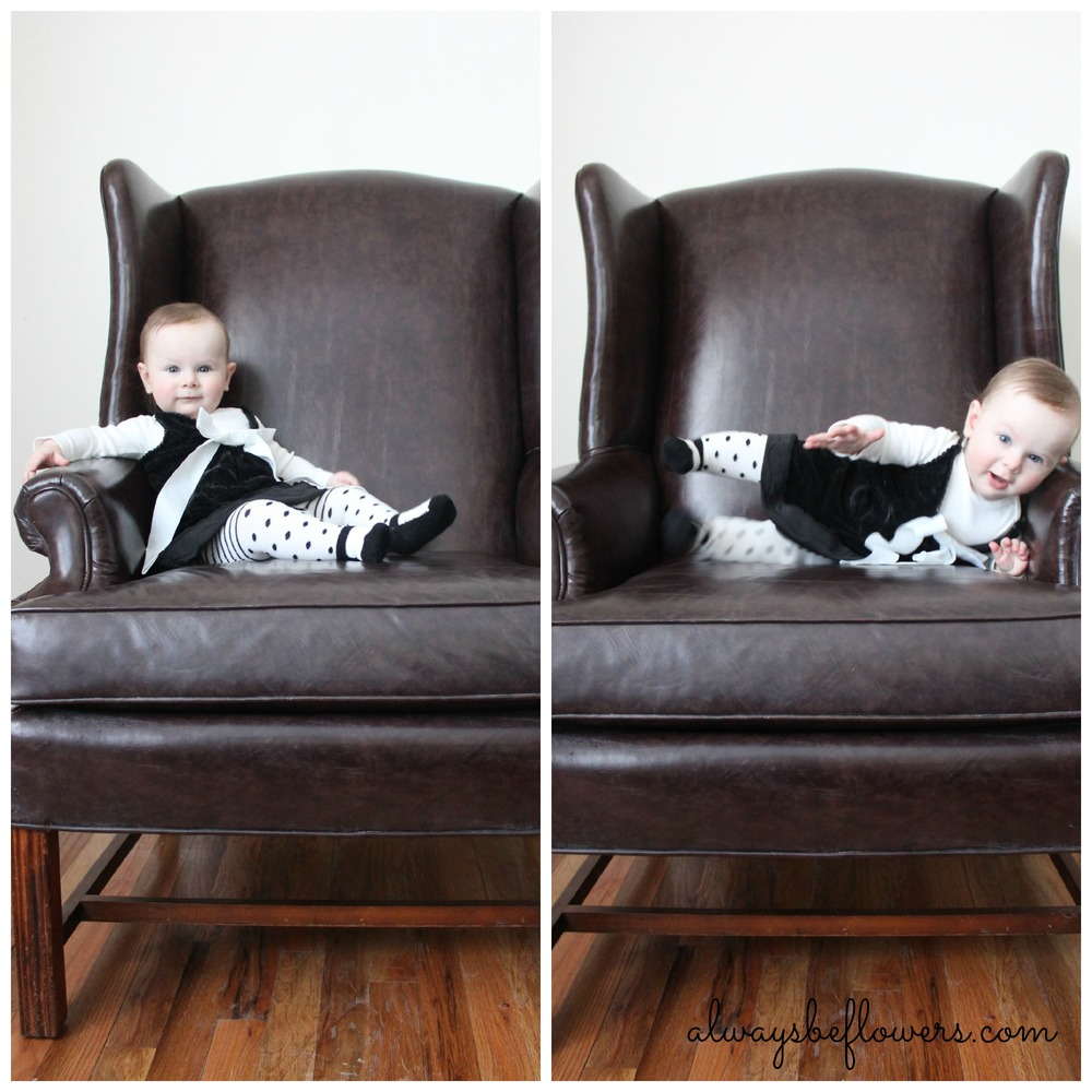 The big chair pose was fun, but required assistance. I did really get to know my camera in those early months.