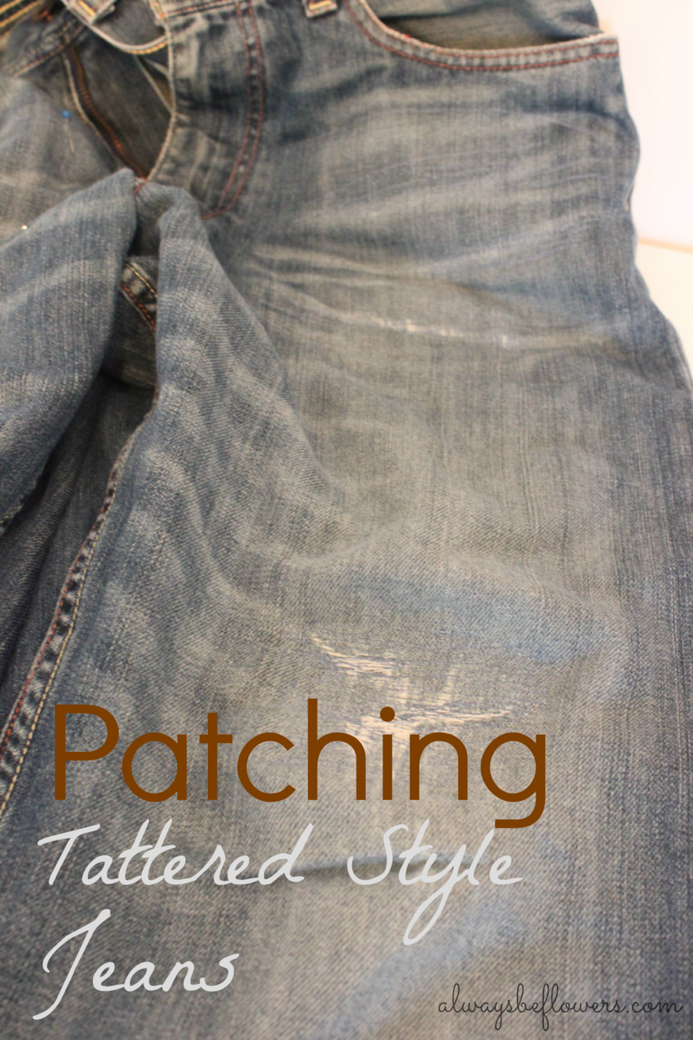 The denim patch on these tattered, broken in jeans is barely visible.