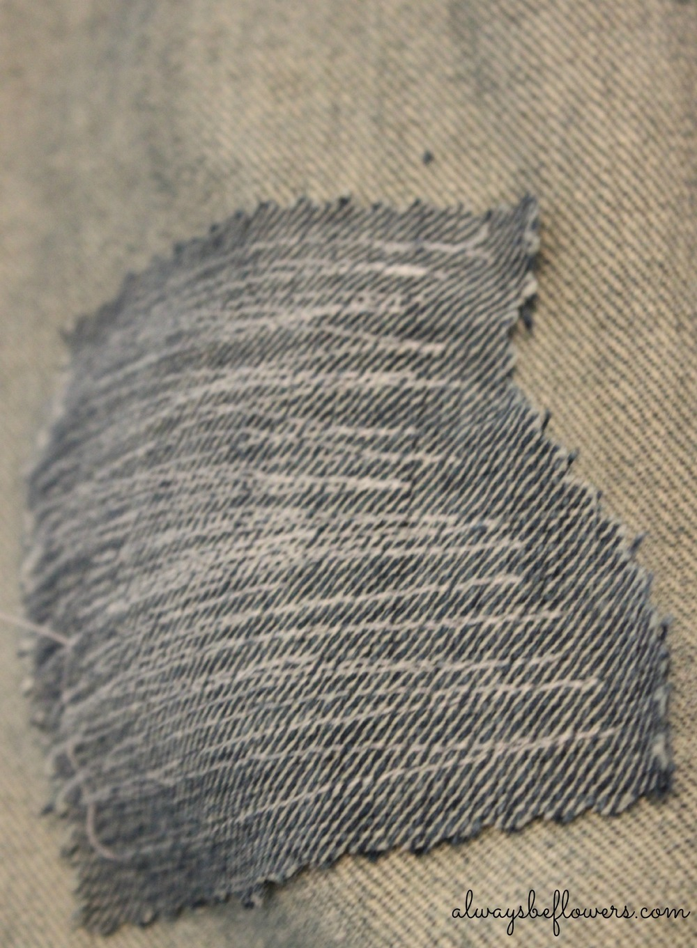 Detail of a denim patch.