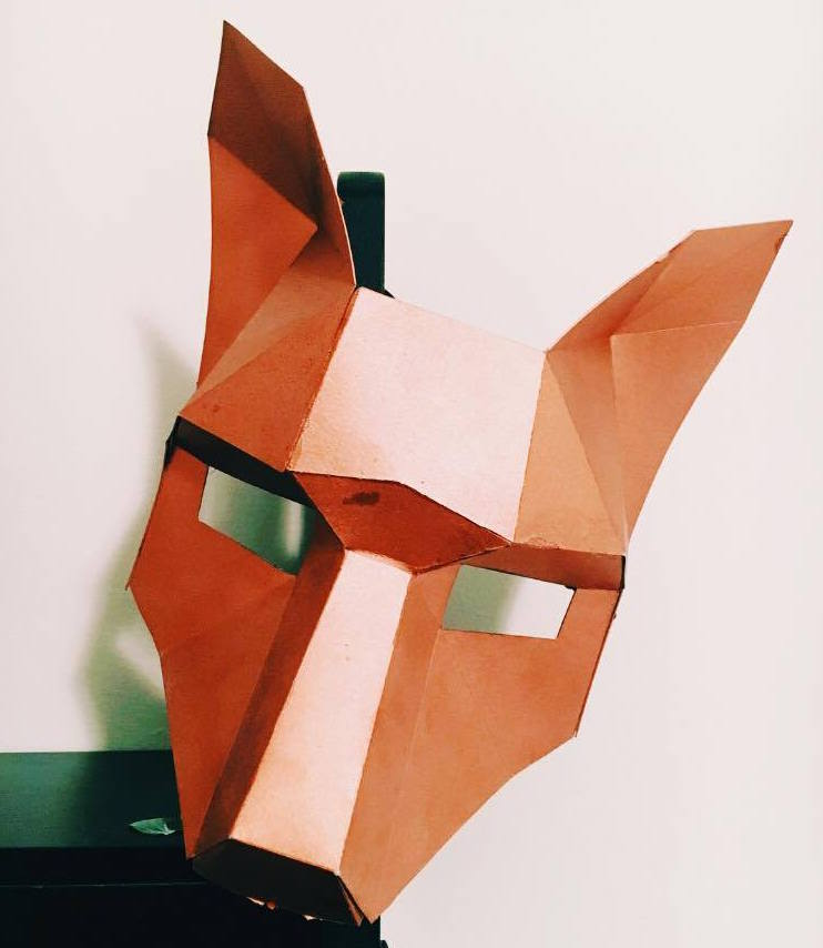 Hand made, cardboard fox mask. Easiest costume ever.