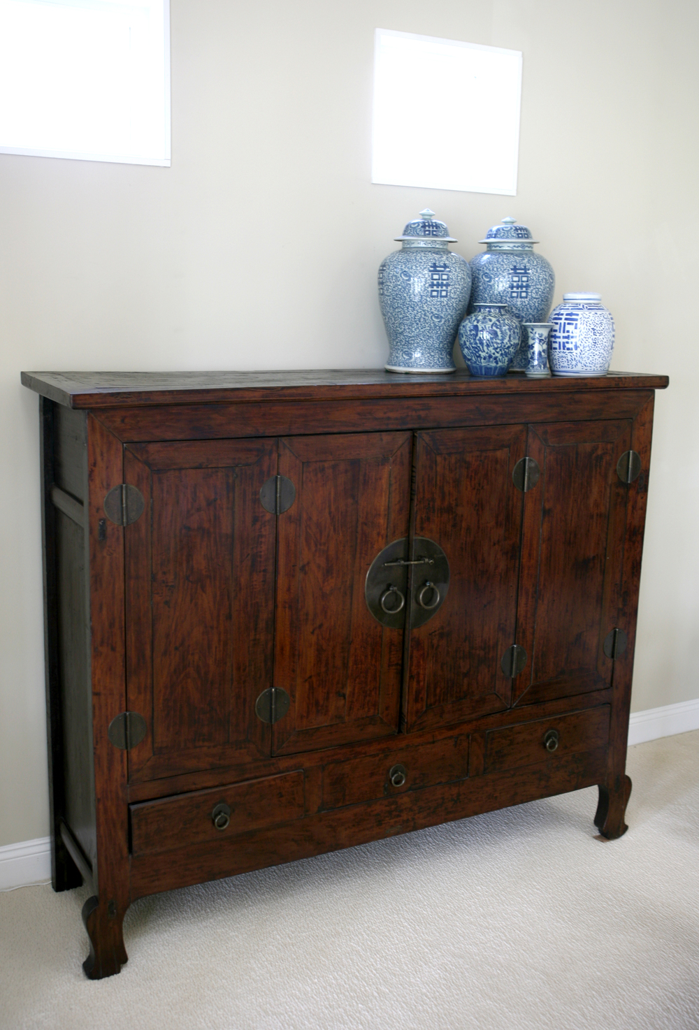 tall walnut buffet