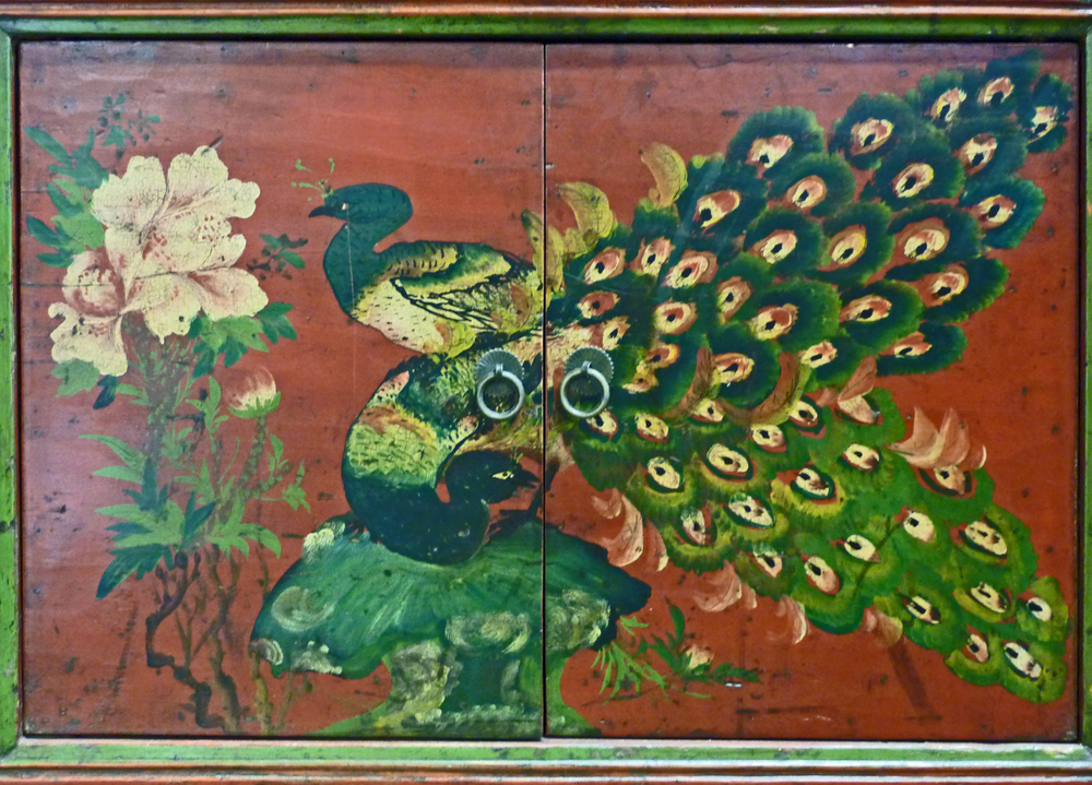This painting is from a credenza from Gansu province.
