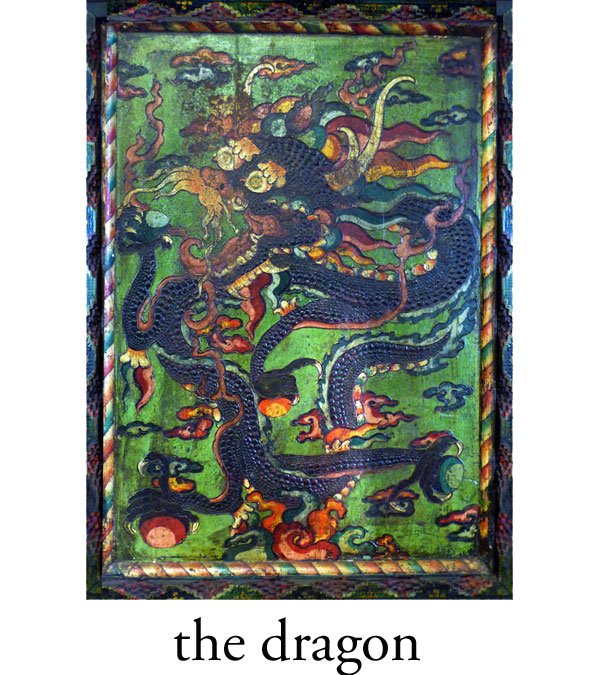 The dragon is a symbol of protection and good fortune. Residing in the clouds, the dragon was worshipped as a harbinger of rain and a good harvest. In the Han dynasty, the dragon became a potent imperial symbol used exclusively by the emperor and his high officials. The number of toes on the dragon indicates the position of the represented official. A five toed dragon can be used only by the emperor himself. Three or two toes may represent his officials.