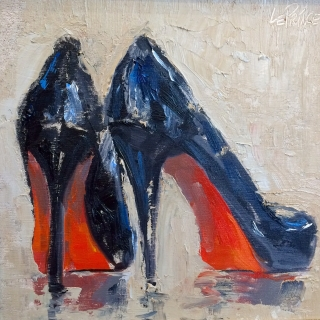"""Louboutin"", 8x8 Oil by Kevin LePrince"