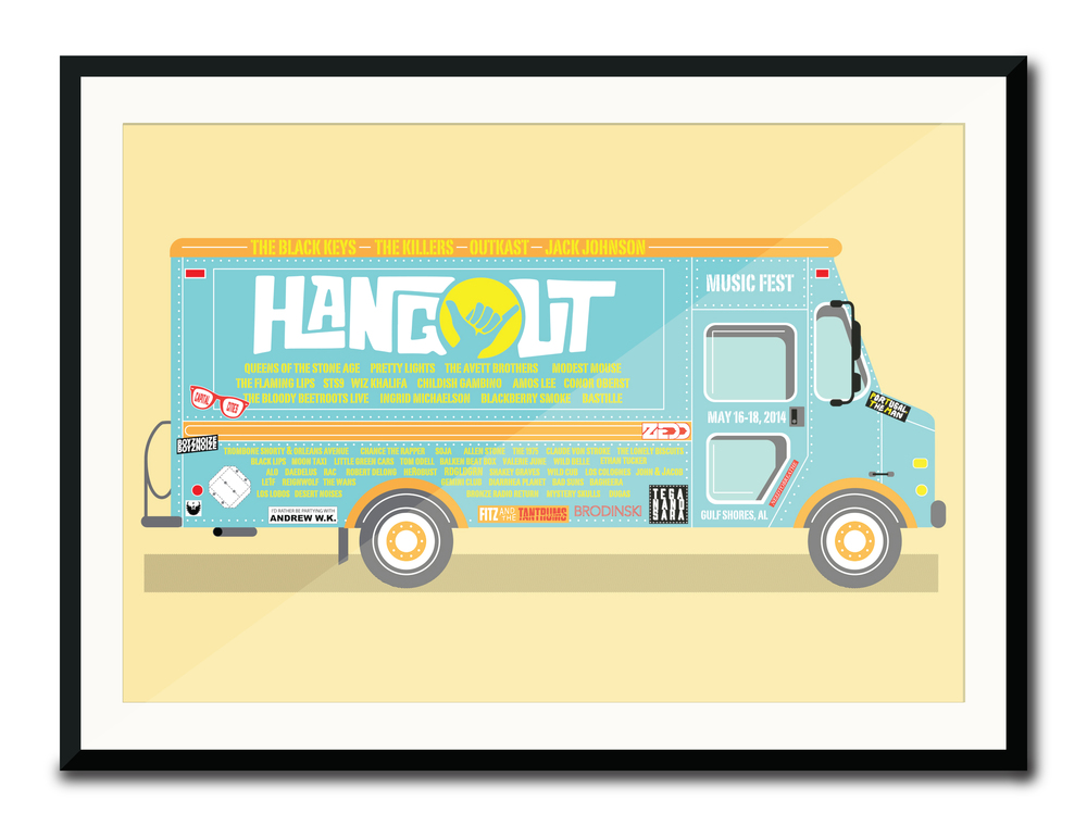 """Hangout Fest Poster""  5 Color Hand Pulled Screen Print  Print Size: 11"" x 17""   Edition of 25"