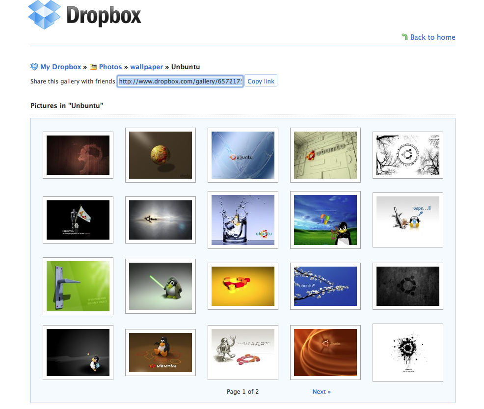 Example of Dropbox Gallery