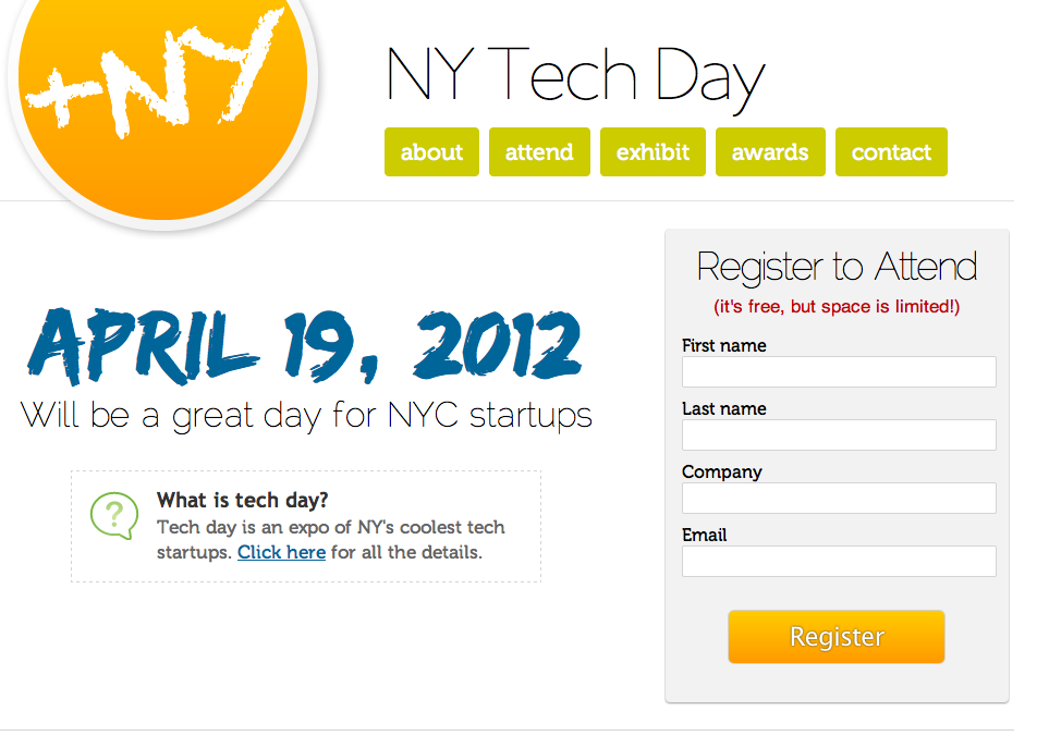 "Sign up and pass it along :)    nycdigital :      The first NY Tech Day—a ""science fair""-style expo of the city's tech startups—will be on  April 19th. Register to attend for free today…while there's still space."