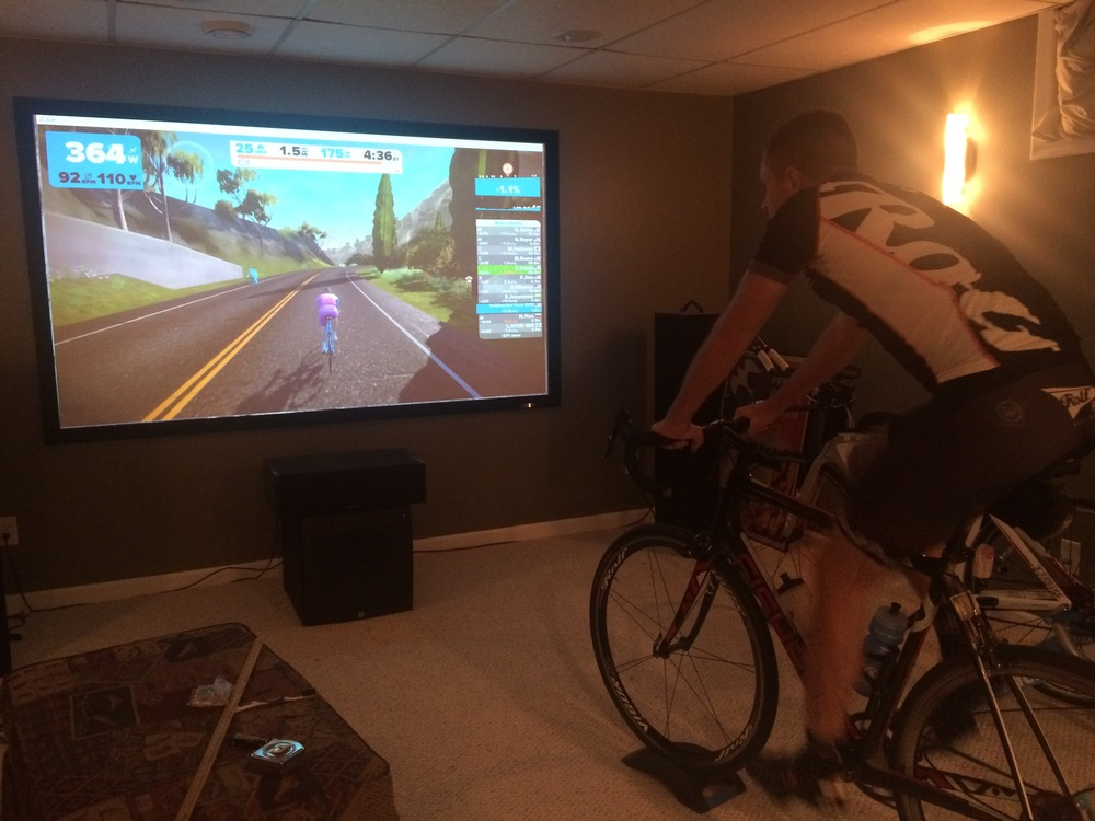 Mike Bishop using Zwift to aid in his RAAM training.