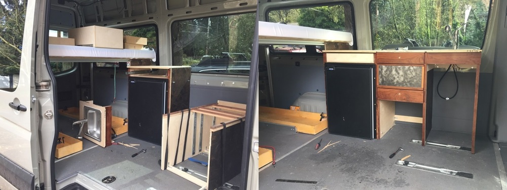 Fig. 2 March 2016. I reused wood from an old Interbike trade show booth to make the cabinets. The cabinets needed to be removable so we can put a 2nd row seat in when we need it.