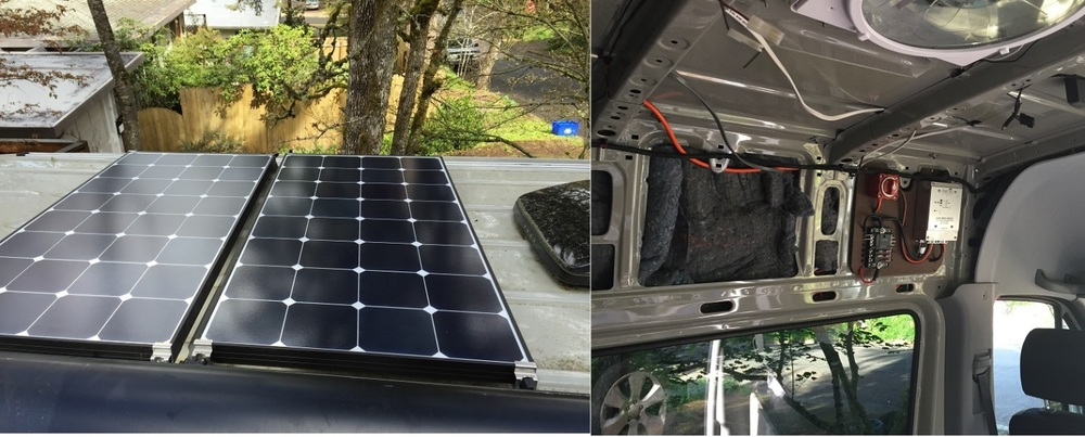 Fig. 3 April/ May 2016.200W of solar charging on the roof and my first major electrical project ever. No fires yet.