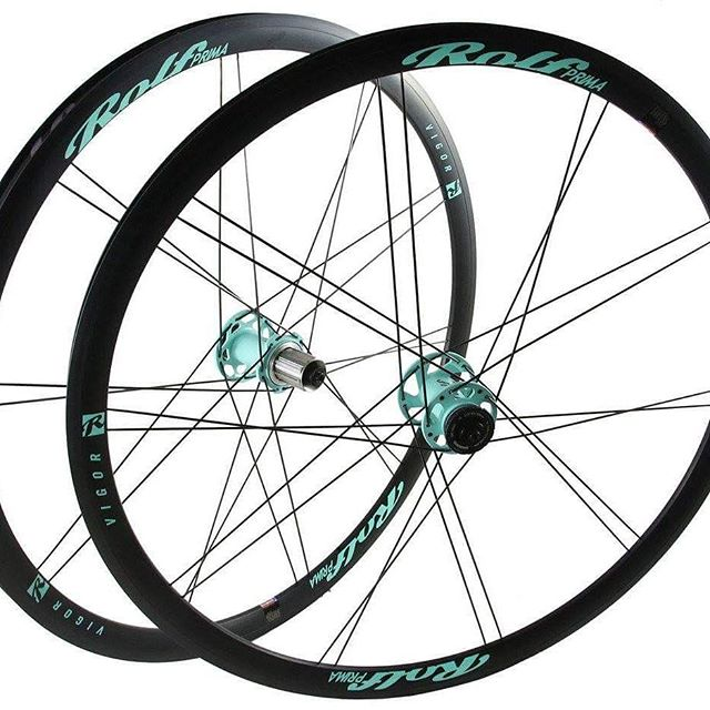 Oregon Spring Mint on a set of Vigor Disc's.  Take your own set home www.shop.rolfprima.com #customwheels #madeintheusa #builtrighthere #madebyhand #celeste #bianchi #newwheelday #discbrakes #gravelgrinder #graveladventures #adventurewheels