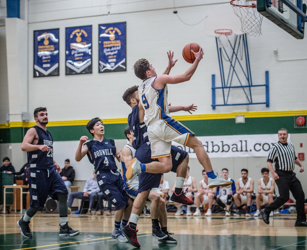 Sounders guard Arman Orbay, elevates on the way to the hoop for 2 of his 19 points during the opening round of the AAA Howe Sound Championship