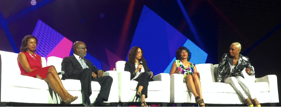 "Pamela Carlton (left) on the 2016 Essence Festival panel, ""Leading with Purpose,"" unveiling the Black Women Executive Research Revisited report with other panelists (Bernard Tyson, Chairman and CEO of Kaiser Permanente, Ellen McGirt, panel moderator from Fortune Magazine, Deborah Elam, President of the GE Foundation and Kimberly Blackwell, COO of PMM Agency)"