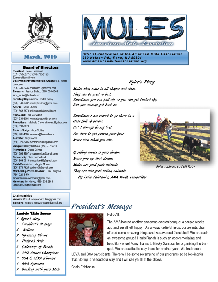 AMA Newsletters — American Mule Association
