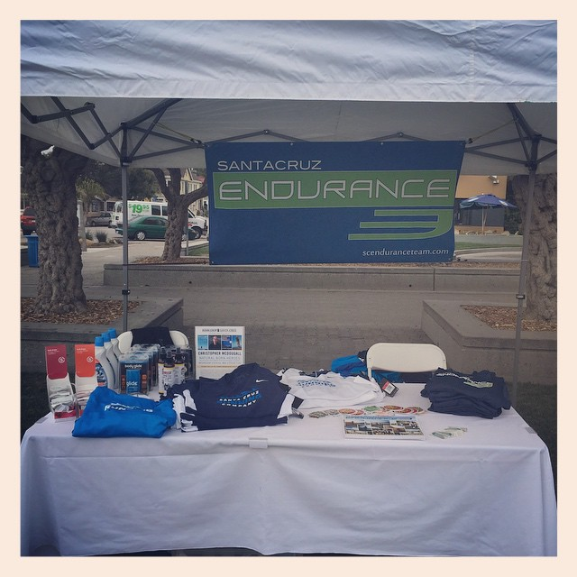 We're all set up at @runsurferspath expo! Come by and say hi, get some goodies from Santa Cruz Running Co., & sign up to join SCE!