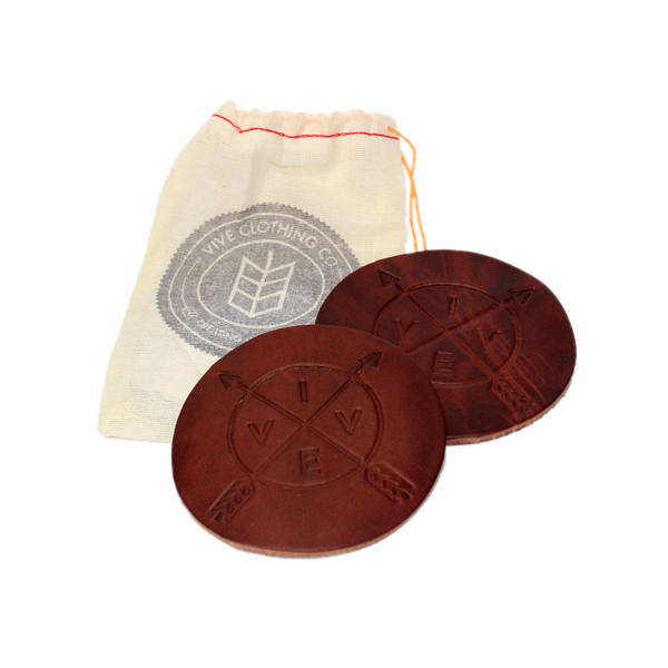 VIVE Leather Coaster 2 Pack - Natural