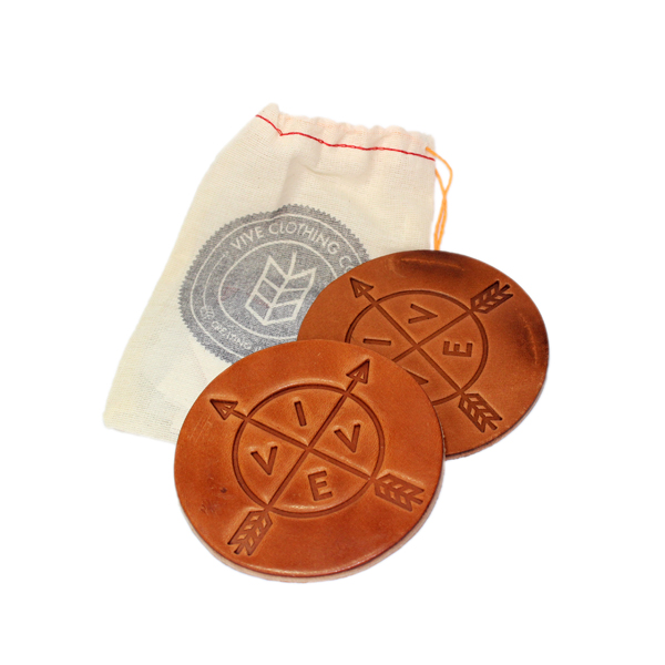 VIVE Leather Coaster 2 Pack - Tan