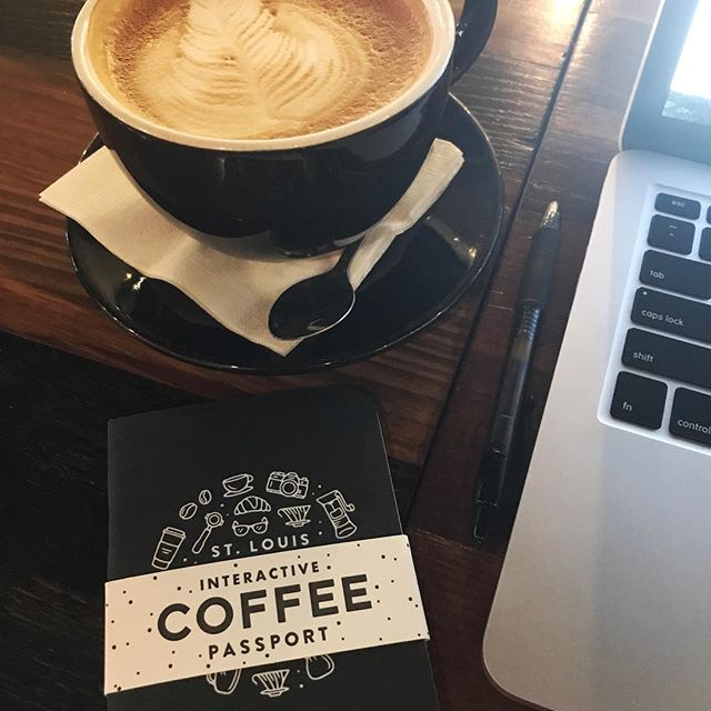 Working from @picassoscoffee today. Had a great meeting with Dustin from @wanderstl the other day were I got this awesome coffee passport, figured I had to break it in. Check them out. - - - #stl #stlouis #wander #wanderstl #design #vive #viveclothing #vibrantlylive