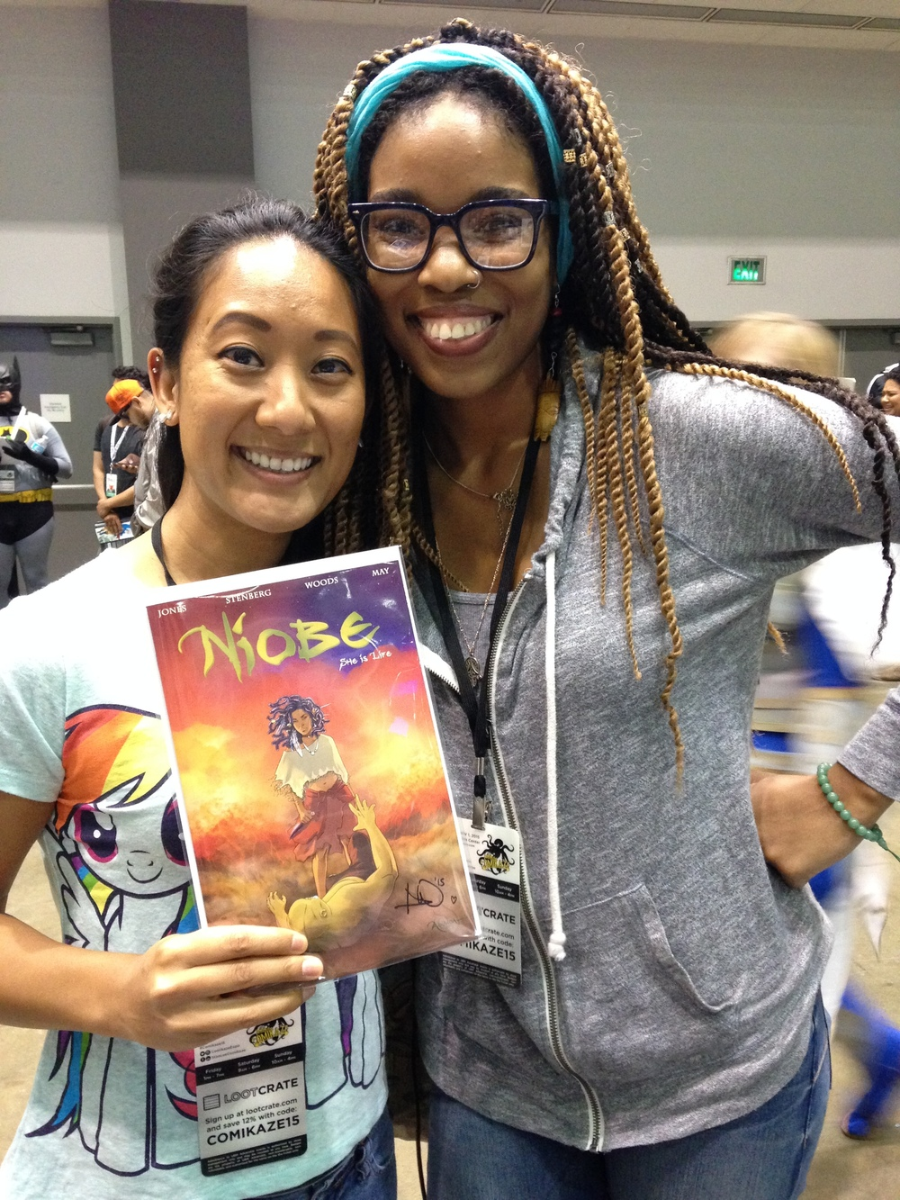 Ashley A. Woods, illustrator for niobe. she is super kind, and enthusiastic. I think she teared up hearing me speak on my love of art and children ^__^ thank you for representing and making an amazing story~