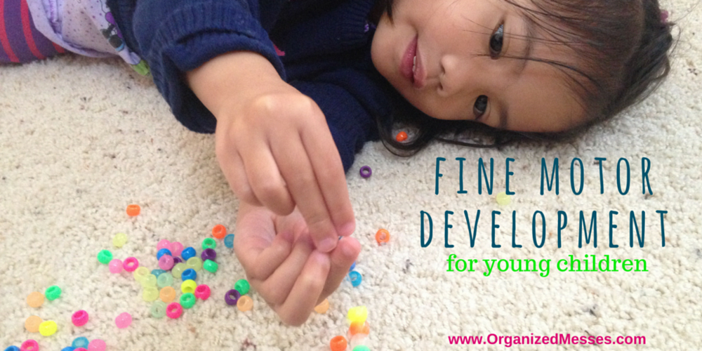 Stringing beads can help with fine motor development, Organized Messes