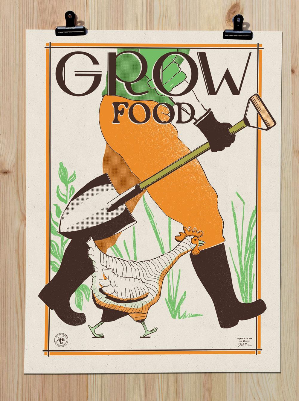 Grow Food 18x24 Screenprint Poster The Victory Garden Of Tomorrow