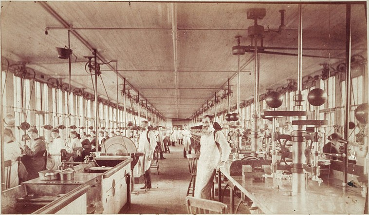 American Watch Co factory interior 1890. Image from  NAWCC Chapter 149 .