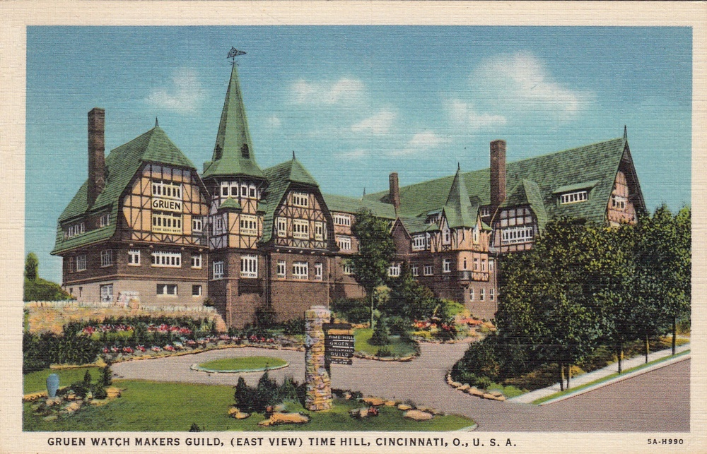 Gruen headquarters and workshop on Time Hill, Cincinnati, Ohio. Reproduction of postcard from 1937.