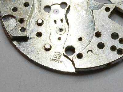 The stamp on the movement plate for the AS 1187/94.
