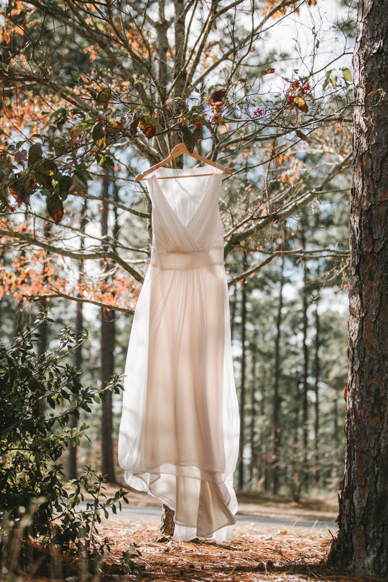 Southern wedding at Quail's Landing in Ashburn, Georgia photographed by Jess Hunter // Savannah, GA wedding photographer // Jacknsonville, FL wedding photographer, South Georgia wedding photography, North Florida wedding photography, Southern wedding traditions // wedding in the woods // bridal dress shot
