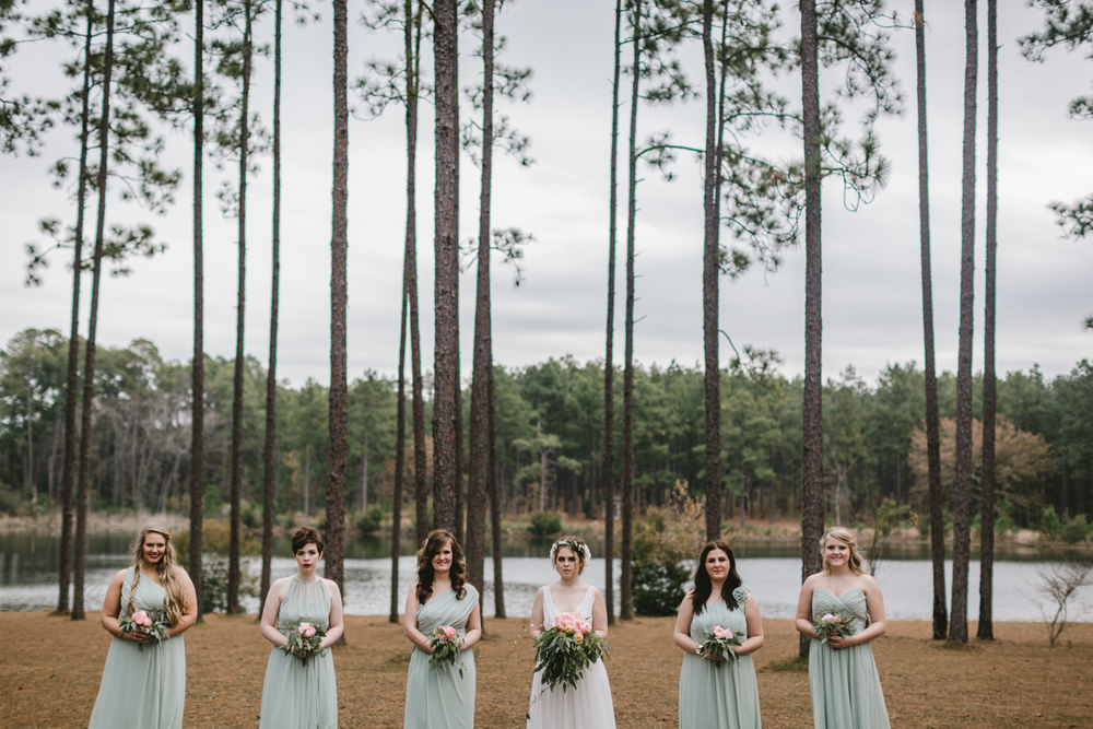 Southern wedding at Quail's Landing in Ashburn, Georgia photographed by Jess Hunter // Savannah, GA wedding photographer // Jacknsonville, FL wedding photographer, South Georgia wedding photography, North Florida wedding photography, Southern wedding traditions, wedding in the woods, bridal party portraits in the woods, southern bridal party, flowy bridesmaids dresses
