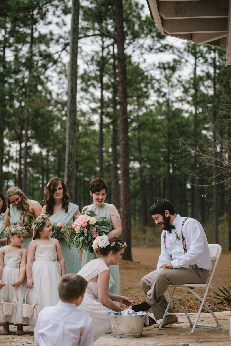 Southern wedding at Quail's Landing in Ashburn, Georgia photographed by Jess Hunter // Savannah, GA wedding photographer // Jacknsonville, FL wedding photographer, South Georgia wedding photography, North Florida wedding photography, Southern wedding traditions, wedding in the woods, lakeside wedding ceremony, flowy bridesmaids dresses, foot washing ceremony wedding