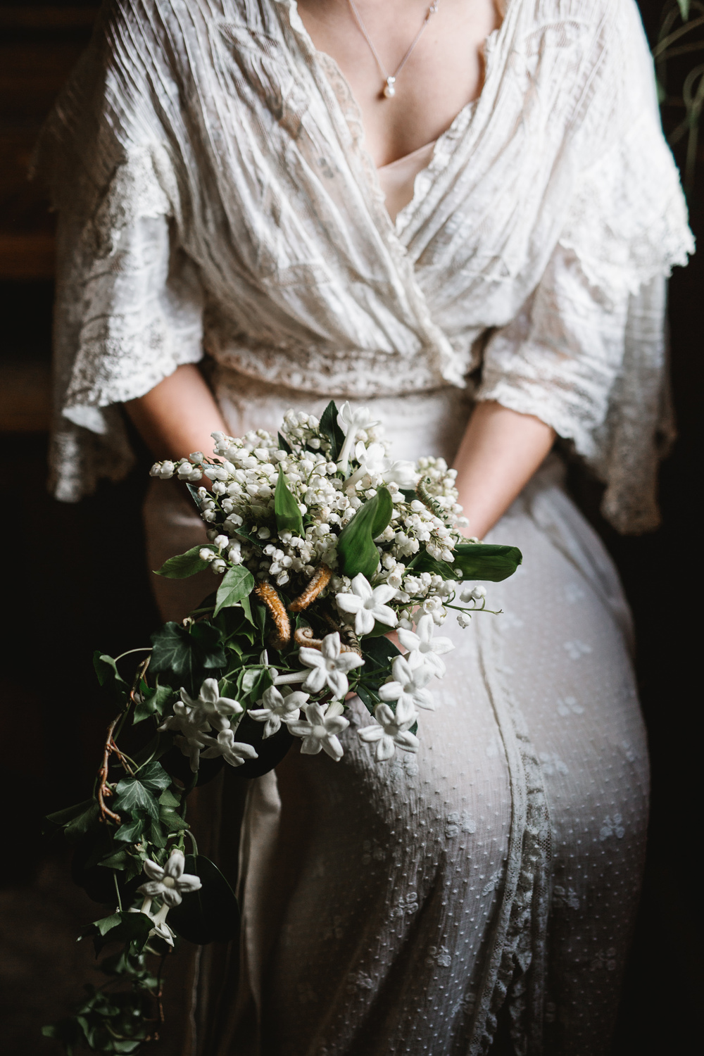 photography by Jess Hunter, intimate Portland wedding photographer, botanical inspired wedding in Portland, OR at a pioneer church, vintage lace wedding dress, hipster Portland wedding, elopement in the forests of Oregon, forest bride, vintage bridal style, Jessica L Hunter, Seattle elopement photographer, PDX wedding, vintage Pacific Northwest wedding, artistic wedding photography, emotive wedding photographer, floral wisteria garland by Ponderosa and Thyme