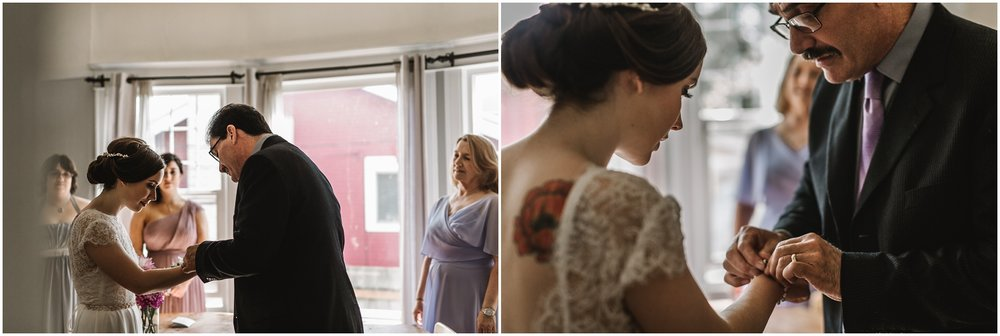 intimate Portland, Oregon wedding at Door of Hope and Ned Ludd photographed by Jess Hunter, emotional Portland wedding photography, vintage bride in a Sarah Seven dress