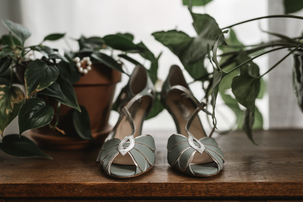 Intimate Portland Oregon wedding photographed by Jess Hunter, stylish air bnb in Portland for bride getting ready, creative Pacific Northwest photographer, wedding shoes from Anthropologie/ BHLDN