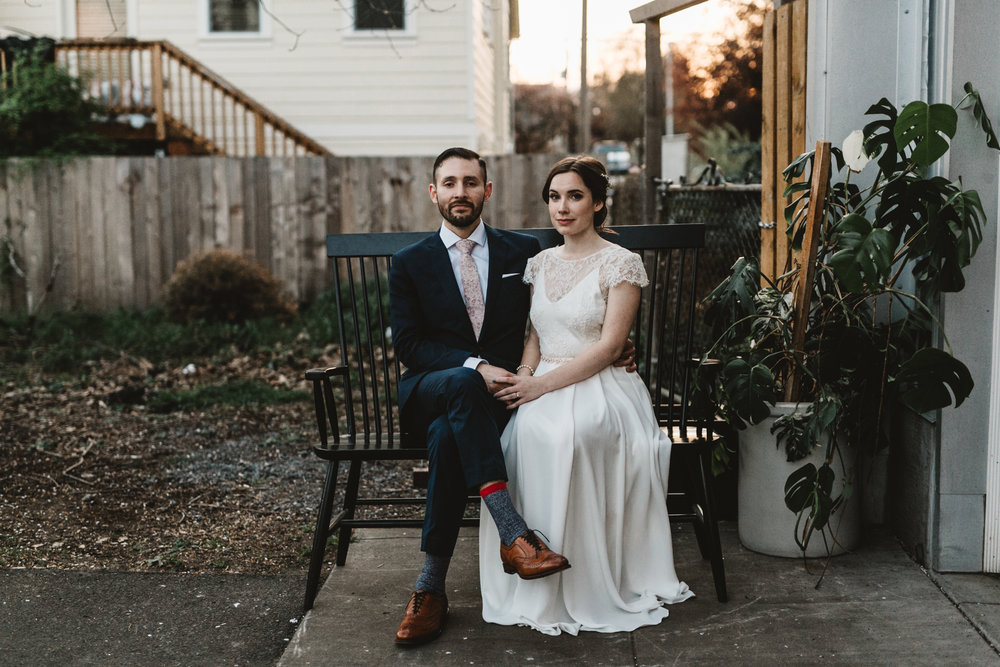 Intimate Portland Oregon wedding photographed by Jess Hunter, stylish air bnb in Portland for bride getting ready, Elder Hall wedding in Portland, Sarah Seven wedding dress, Kinfolk inspired wedding, artistic intimate bride and groom portraits