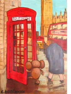Cheburashka in London. Acrylic on Canvas. 2012.
