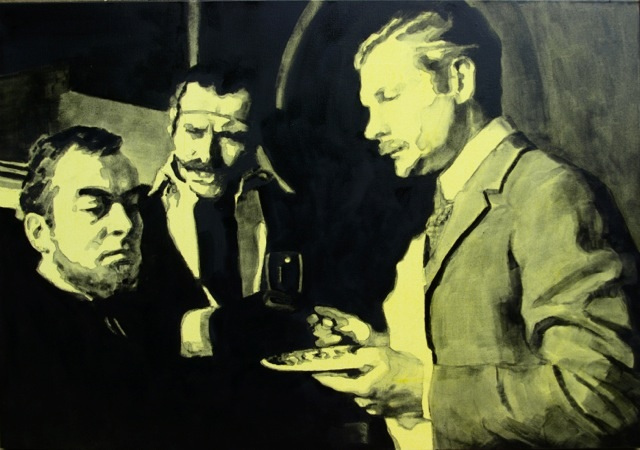 Olga Jurgenson Porridge is Good During Hangover too. Dr Watson and Sir Henry are Questioning Barrymore. A Scene from The Hound of Baskervilles. Detail 2012 From Porridge, Sir! series. Canvas, Oil 70x100cm