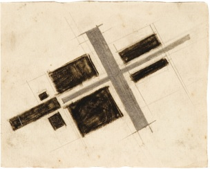 "Black Square Split by a Cross, 1920 Pencil and crayon on paper, 3 5/8"" x 4 3/8"""