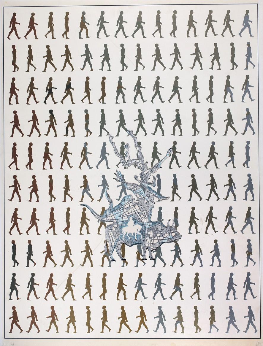 """Из серии """"В поисках быка"""", 1990. Бумага, шелкография, коллаж. 76х58"""