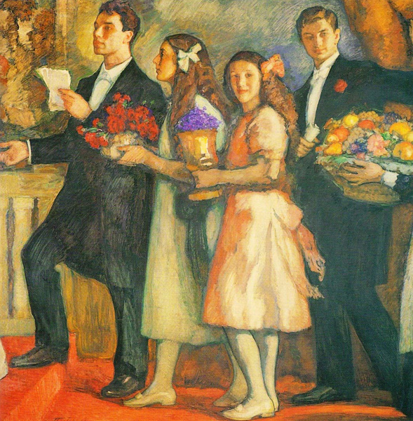 A 1914 painting by Leonid Pasternak of the Pasternak children, left to right: Boris, Josephine, Lydia, Alexander Pasternak. The occasion was their parents' 25th wedding anniversary.