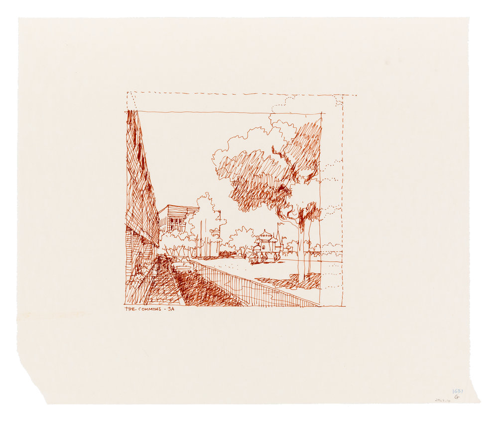 Carlos Diniz (1928–2001), Embassy of the United States, Moscow - preparatory ink drawings, US Embassy, c. 1976. Red ink on tracing.