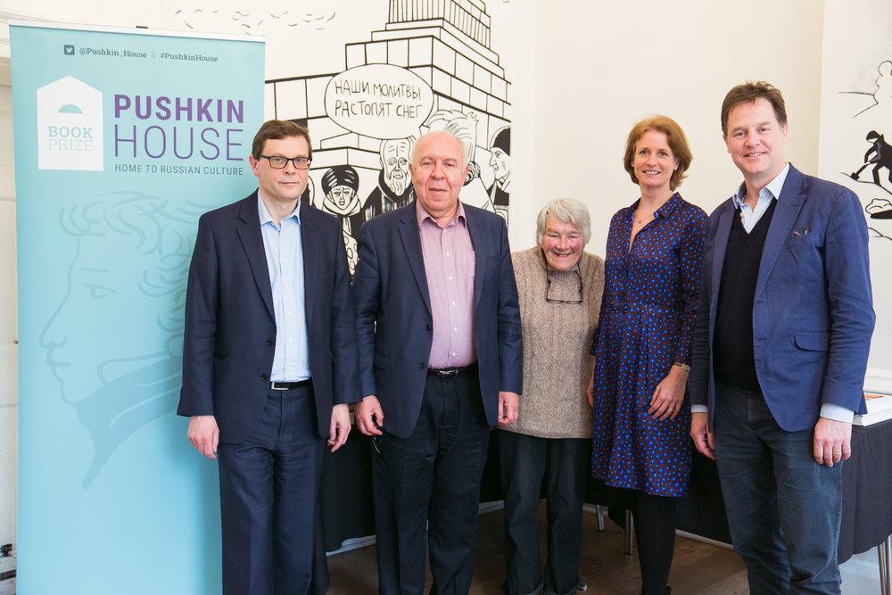 The 2018 judges - left to right John Thornhill, Oleg Budnitsky, Dervla Murphy, Rosalind Blakesley and Sir Nick Clegg