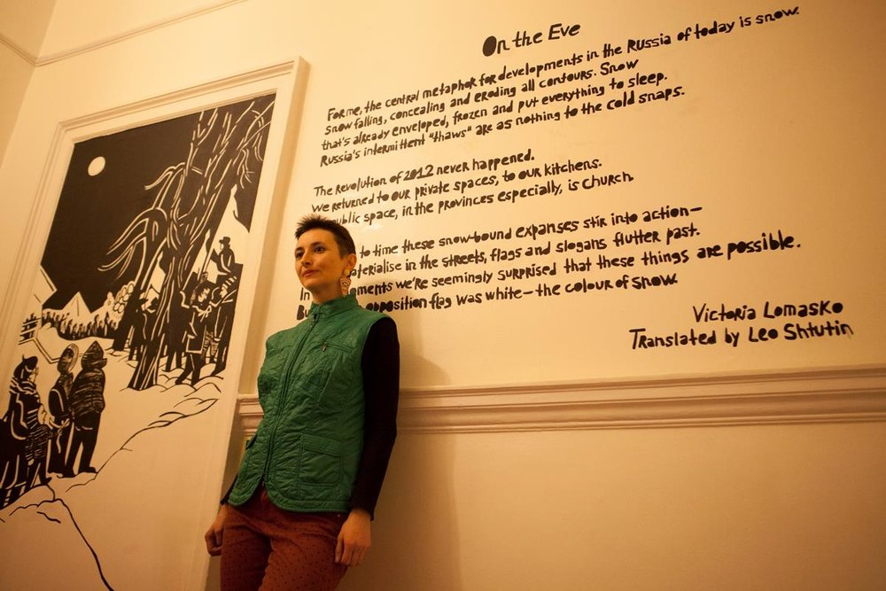 Victoria Lomasko at the opening of her recent exhibition 'On the Eve' at Pushkin House