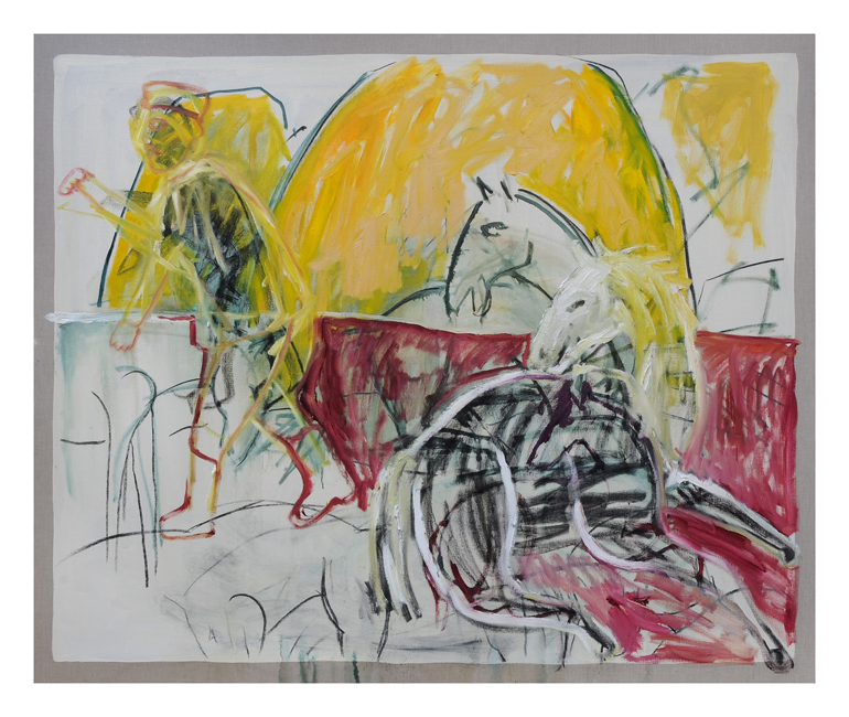Childish/Adams, horses (after Larionov), 2014, oil on linen, 152.5 x 183 cm