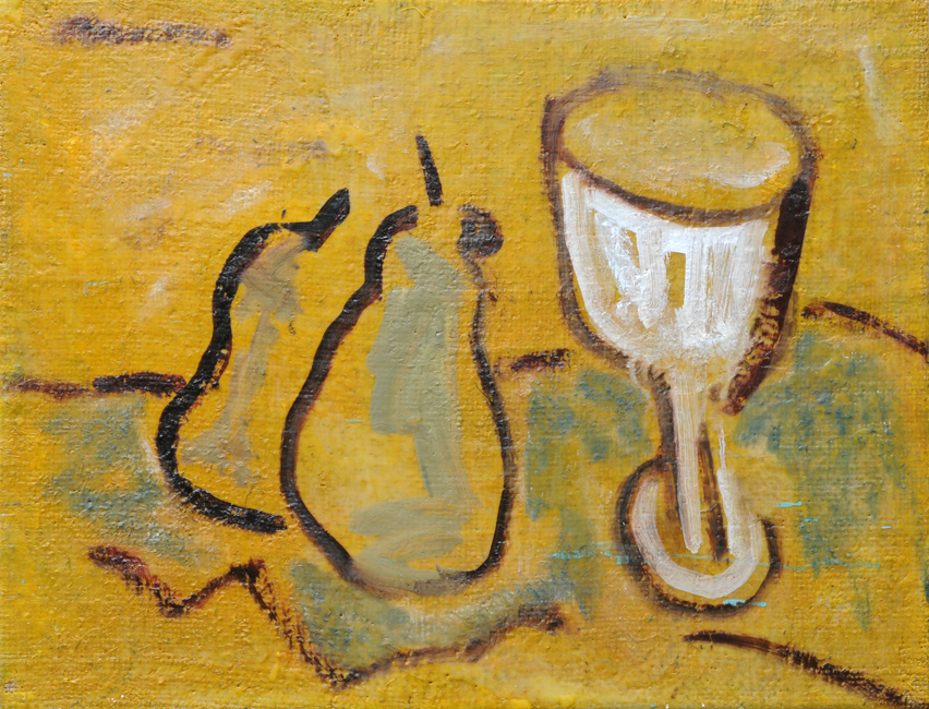 Adams,2 Pears and a Glass (after Larionov),2014 oil and beeswax encaustic on hessian,61 x 80 cm