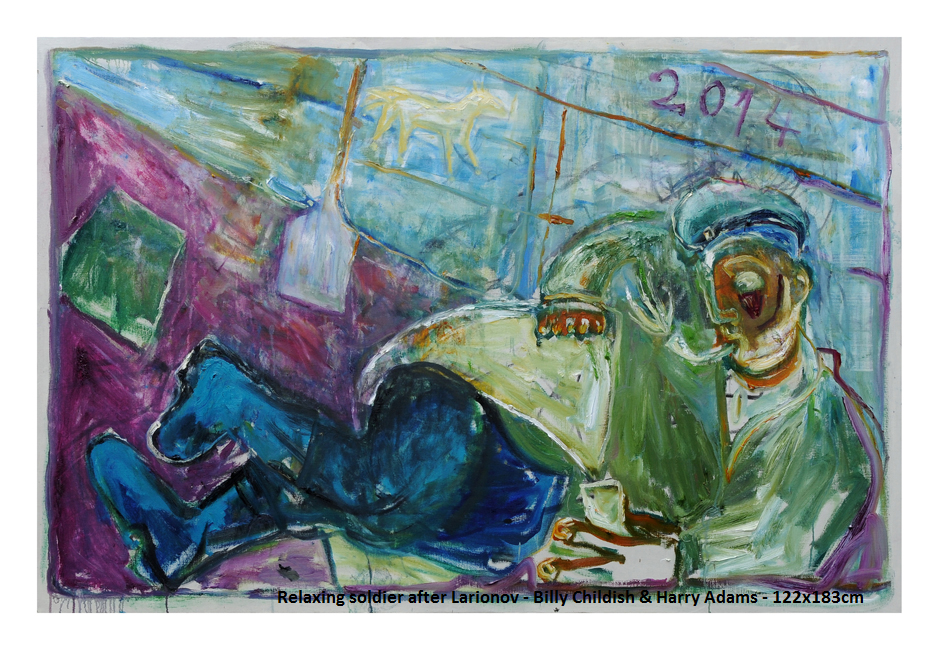 Childish/Adams, Relaxing Soldier (after Larionov) 2014 oil on linen, 122 x 183 cm