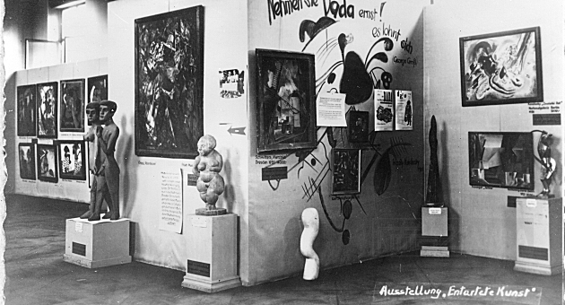 "Pictures at the ""Degenerate Art"" exhibition in Munich, 1937"